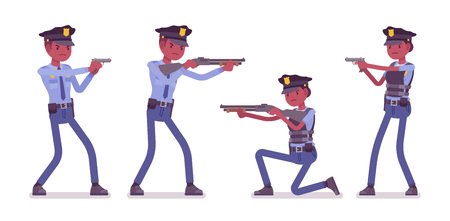 Members of a police force making arrests concept illustration.