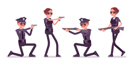 Young police officers with guns