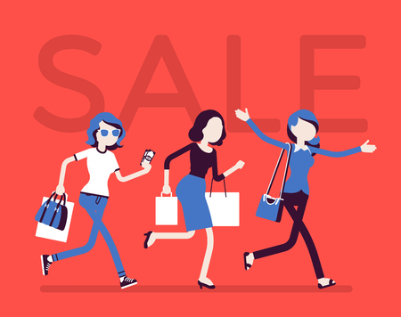 Sale season in the store illustration on red background.