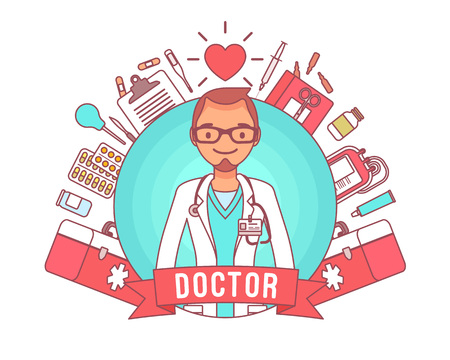 Doctor professional poster illustration on white background. Çizim