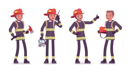 Jonge mannelijke brandweerman status