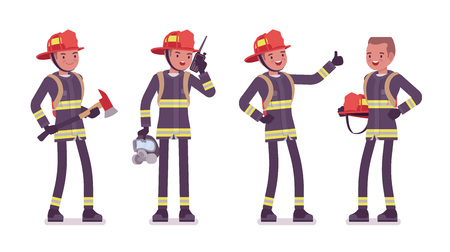 Young male firefighter standing Ilustracja