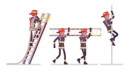 Young male firefighter at ladder and pole Stock Illustratie