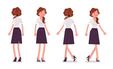 Secretária sexy em pé e andando. Assistente de escritório feminino elegante. Conceito de administração de empresas. Ilustração lisa dos desenhos animados do estilo do vetor isolada no fundo branco, dianteiro e vista traseira