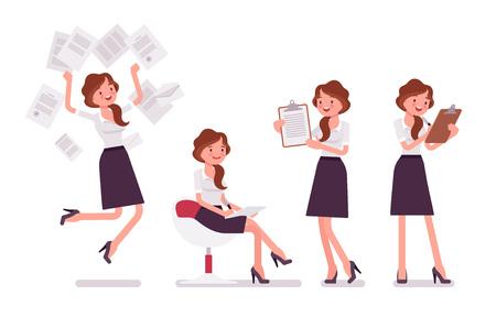 Secretária sexy ocupado com papelada. Assistente de escritório feminino elegante trabalhando com documentos, fazendo anotações. Administração de Empresas. Ilustração em vetor estilo cartoon plana isolada no fundo branco