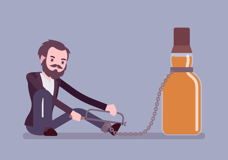 Man with bottle in alcohol dependency