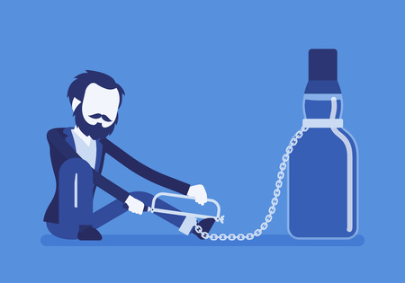 Man with bottle in alcohol dependency.