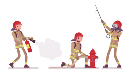 Young male firefighter at duty