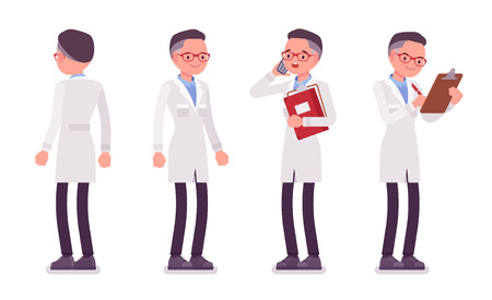 Male scientist standing. Expert of physical or natural laboratory in white coat. Science and technology concept. Vector flat style cartoon illustration isolated on white background, front, rear view Иллюстрация