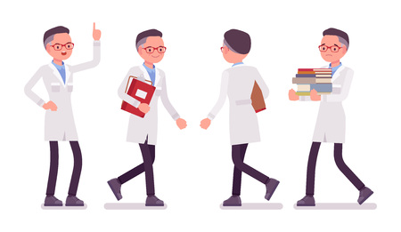 Male scientist walking. Expert of physical or natural laboratory in white coat Science and technology concept. Vector flat style cartoon illustration isolated on white background, front, rear view Illustration