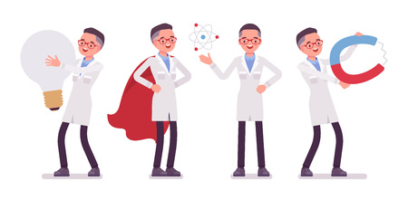 Male scientist and giant things. Expert of physical or natural laboratory in white coat with tools. Science and technology concept. Vector flat style cartoon illustration isolated on white background