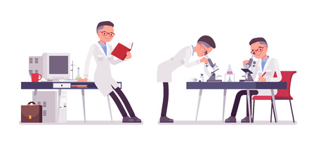 Male scientist working. Expert of physical or natural laboratory in white coat studies at microscope. Science and technology concept. Vector flat style cartoon illustration isolated, white background