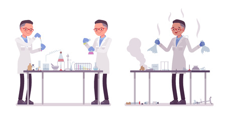 Male scientist making chemical experiments. Expert of physical or natural laboratory in white coat. Science and technology concept. Vector flat style cartoon illustration isolated on white background
