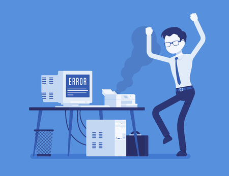 Angry worker feeling annoyance, displeasure with bad working old damaged device at workplace, stressed with not functioning computer. 일러스트
