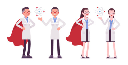 Male and female scientist with symbols Illustration