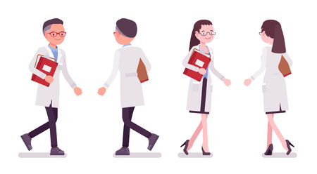 Male and female scientist walking Illustration