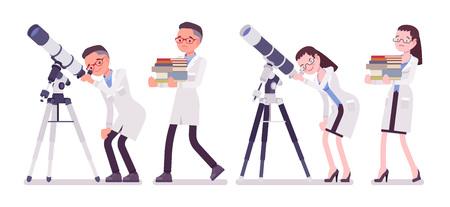 Científico masculino y femenino con telescopio