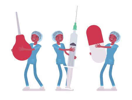 Male nurse holding big tools in cartoon illustration.