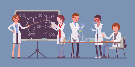Students in the lab experimenting vector illustration. Stock Illustratie