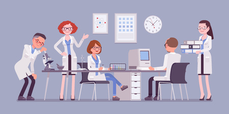 Scientists at work illustration Illustration
