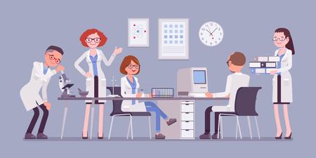 Scientists at work illustration Stock Illustratie