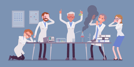 Mad scientist, failed chemical experiments illustration.