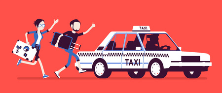 Chasing a taxi cab Stock Illustratie