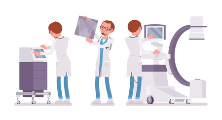Male doctor X-raying. Man in hospital uniform examining body organs by scanning at computer. Medicine and healthcare concept. Vector flat style cartoon illustration isolated on white background Illustration
