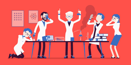Mad scientist failed chemical experiments illustration.