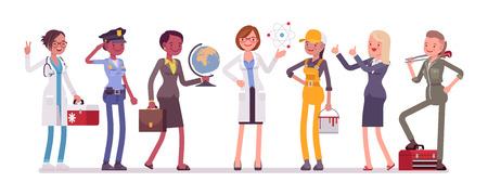 Conjunto de profesiones de mujeres.