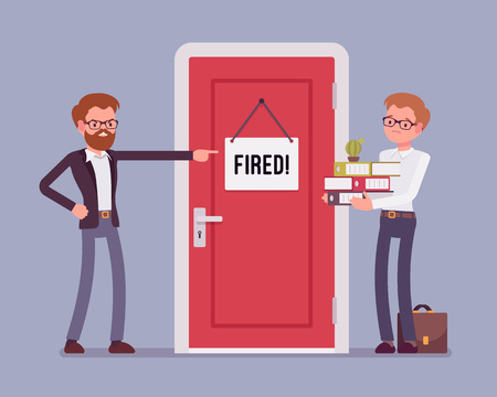 Fired office worker and boss