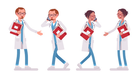 Male and female doctor with paper and phone. Stock Illustratie