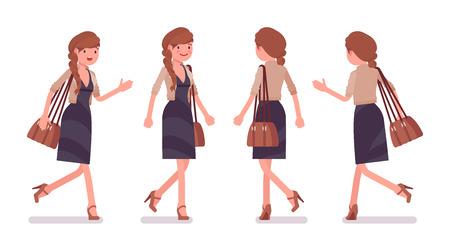 Pretty female office employee walking, running