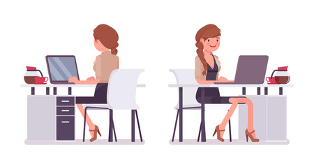 Pretty female office employee sitting at desk vector illustration set