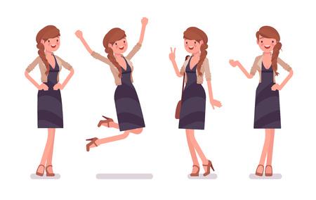 Pretty female office employee feeling positive emotions
