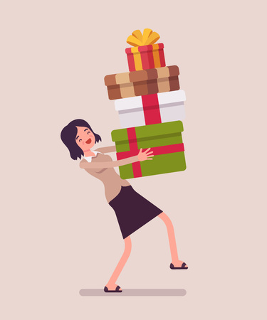 Woman holding a heap of gift boxes. Vectores