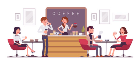 Cafe shop and people relaxing. Modern place interior to meet, drink and eat, chat, have a rest, enjoy free time, barista girl makes and serves coffee for public. Vector flat style cartoon illustration
