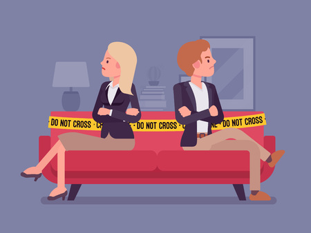 Couple quarrel home scene Vector illustration.