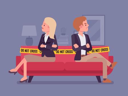 Couple quarrel home scene Vector illustration.
