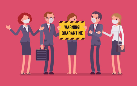 Office quarantine warning Vector illustration.