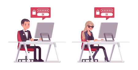 Secret agent man and woman, gentleman and lady spy of intelligence service, watcher to uncover data, collect political, business information, hacking computer. Vector flat style cartoon illustration