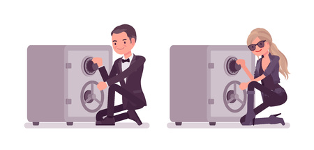 Secret agent man and woman, gentleman and lady spy of intelligence service, watcher to uncover data, collect political, business information, safe box hacking. Vector flat style cartoon illustration