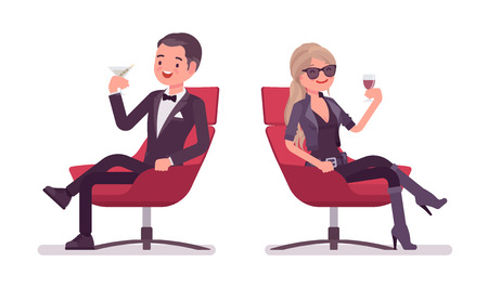 Secret agent man and woman, gentleman and lady spy of intelligence service, watcher to uncover data, collect political, business information, relax drinking. Vector flat style cartoon illustration
