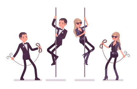 Secret agent man and woman, gentleman and lady spy of intelligence service, watcher to uncover data, collect political, business information, rope climbing. Vector flat style cartoon illustration