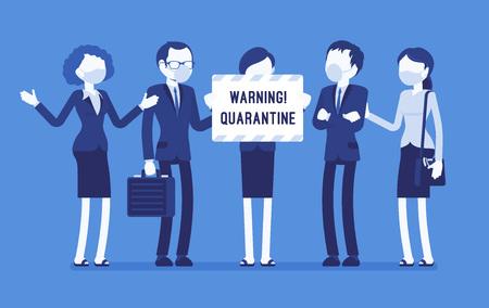 Avviso di quarantena dell'ufficio. Squadra di operai in maschera con nota di isolamento, pericolo di malattie infettive e contagiose, smette di lavorare per prevenire la diffusione del virus. Illustrazione vettoriale con personaggi senza volto