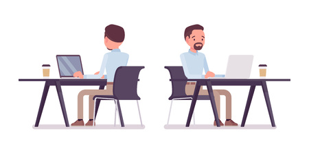 Smart casual man sitting and working Illustration