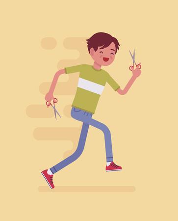 Junge läuft mit der Schere Standard-Bild - 98581075