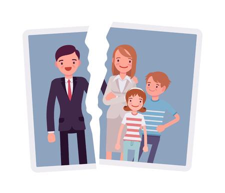 Image of a family breakup problem on colored illustration. Illusztráció