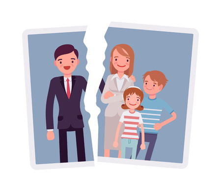 Image of a family breakup problem on colored illustration. Vectores