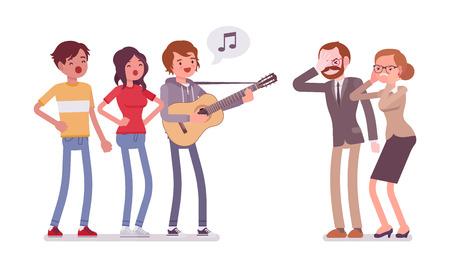 Annoying music conflict illustration. Illustration